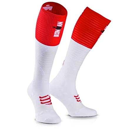Compressport Medias de Compresion-Full Socks UltraLight Racing - Ironman 2017 Rojo/Blanco -