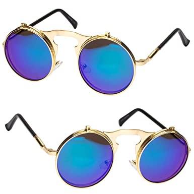 9151bb255ae Image Unavailable. Image not available for. Color  Cool Flip Up Lens  Steampunk Vintage Retro Round Sunglasses Gold Ocean Blue I