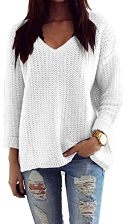 new product 7b3b2 aea11 Mikos*Damen Pullover Winter Casual Long Sleeve Loose Strick Pullover  Sweater Top Outwear (627) *Hergestellt in der EU - Kein Asienimport*