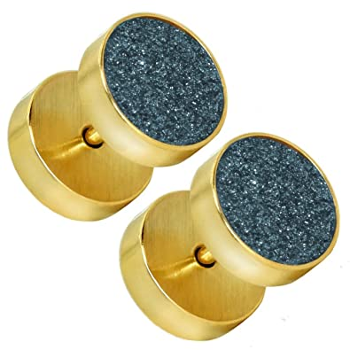 ... Falso Piercing Fake Plug Acero Tunnel Túnel Tramposo Joyas Dilatador Oreja, color:golden - Glitzer blau-grau/glitter blue-grey: Amazon.es: Joyería
