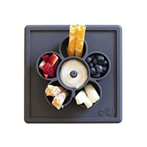 ezpz Mini Play Mat (Slate) - 100% Silicone Suction Flower Plate with Built-in Placemat for Infants + Toddlers - Crafting + Snacks - Divided Plate - Dishwasher Safe