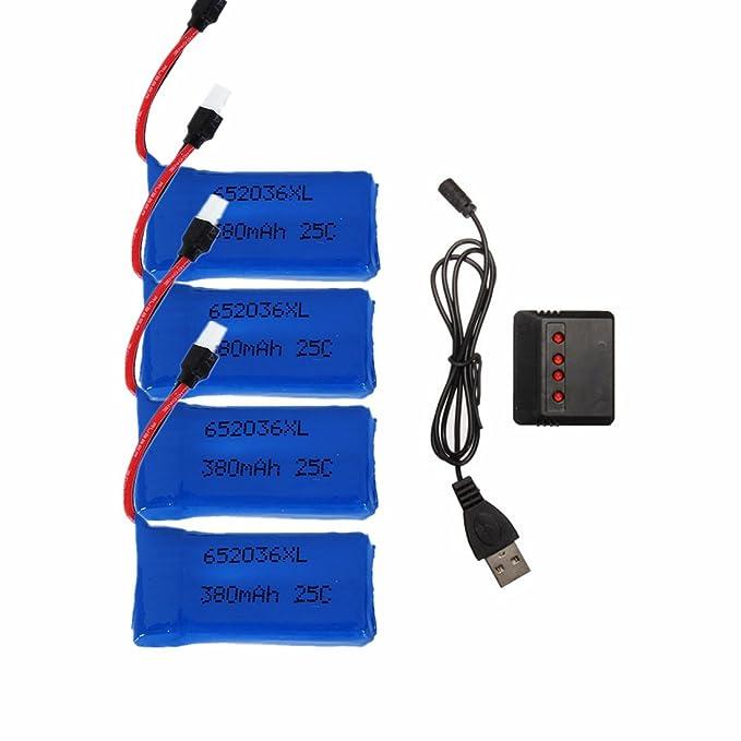 ELEGIANT 4 pcs Mejorado 25C 3.7V 380mAh Bateria drone con 1pc ...