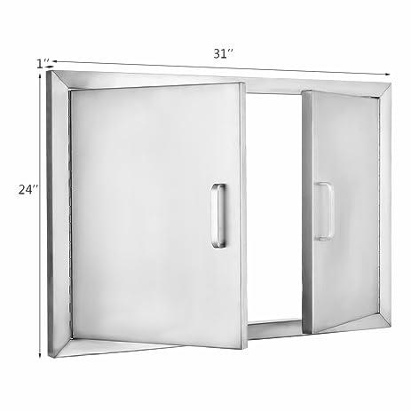 Popsport BBQ Door 31x24 Inch Double Access Door 304 Stainless Steel Double Door with Handle for