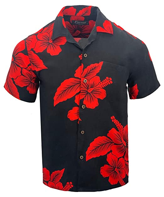 3757a7cb Favant Tropical Luau Beach Hibiscus Floral Print Men's Hawaiian Aloha Shirt