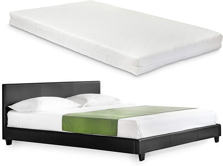 Corium] Cama de Cuero sintético Moderna (Barcelona) - con [Neu.Haus] colchón de Espuma fría (140 x 200) (Negro)