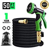 Flexible Expandable Garden Water Hose 50Ft Extra Strong 9 Function Spray Nozzle Garden Hose with Solid Brass Connectors,Triple Latex Core, No-Kink,No-Rust,No-Leak For Garden, Lawn, Pet ,Storage Bag