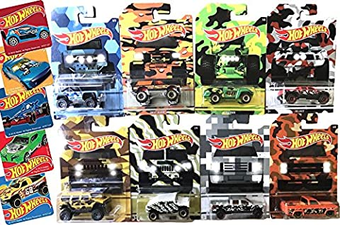 Hot Wheels 2017 Camoflauge Trucks Exclusive Complete Set of Eight Ford Bronco / Chevy Blazer/ Hummer H2 / Humvee / Baja Truck / Silverado Pickup & (Halo Master Chief Pop)