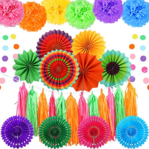 Auihiay 32 Pieces Fiesta Party Decoration Include Paper Fans, Tissue Paper Pom Poms, Circle Dot Garland and Tissue Paper Tassel for Birthday Parties, Wedding Décor, Fiesta or Mexican Party -