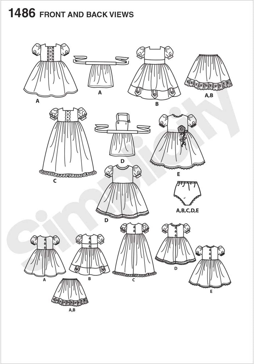 ONE Simplicity Sewing Pattern 1486: Vintage Style 18 Doll Clothes White Size OS Paper