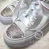 Women's Swarovski Converse Wedding Chucks - Custom All Star Converse with Crystals for the Bride - Quinceañera - Prom Shoes By SparkleBoutique2U