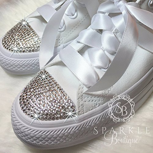 Women's Swarovski Converse Wedding Chucks - Custom All Star Converse with Crystals for the Bride - Quinceañera - Prom Shoes By SparkleBoutique2U by Sparkle Boutique Custom Bling