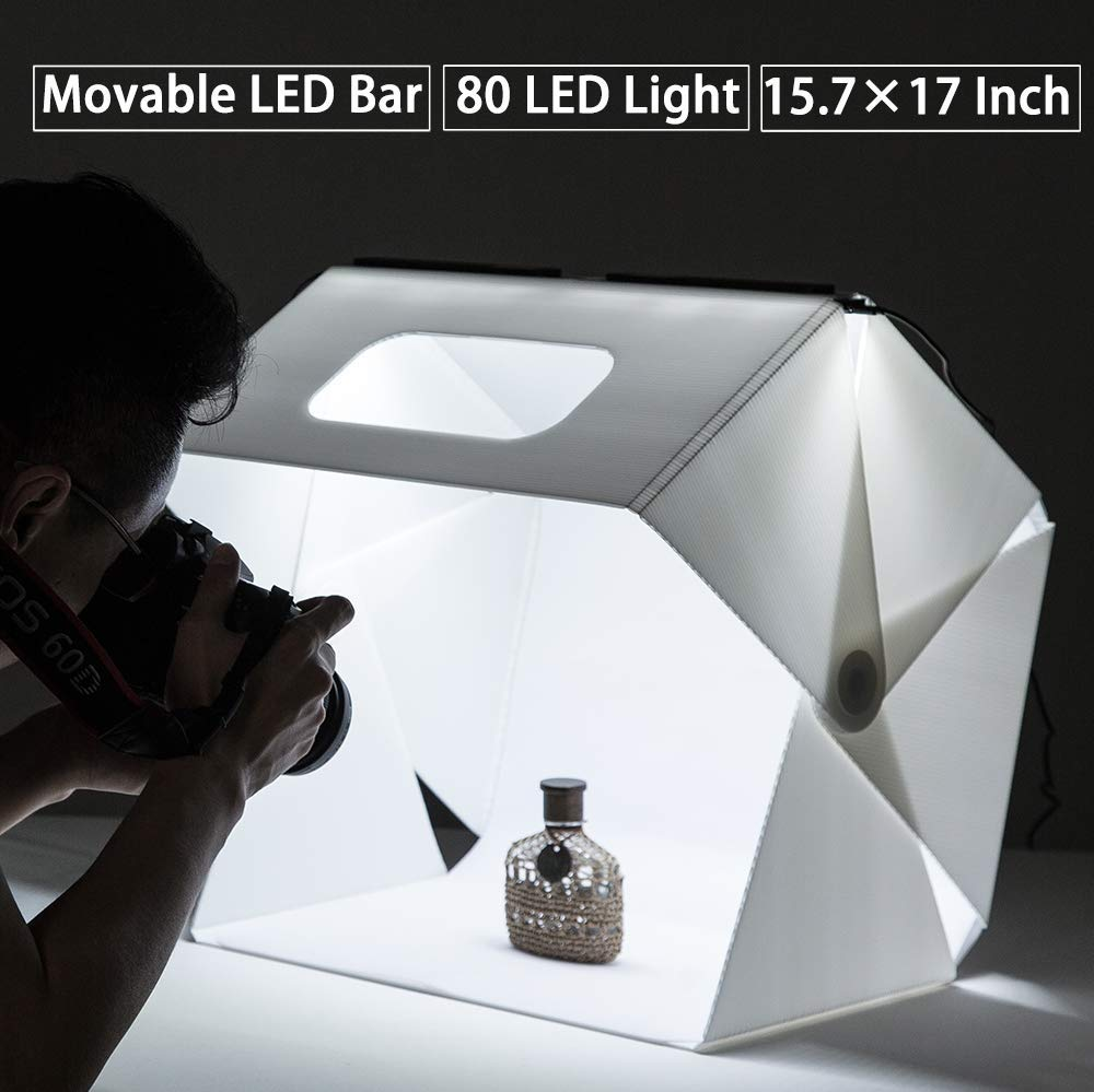 Slowbeat Foldable 15.7'' x 17'' Photo Studio LED Booth Light Box Shooting Tent Light Kit for E-Commerce Shooting - Including LED Light Set/USB Cable/White/Black Backgrounds by Slowbeat