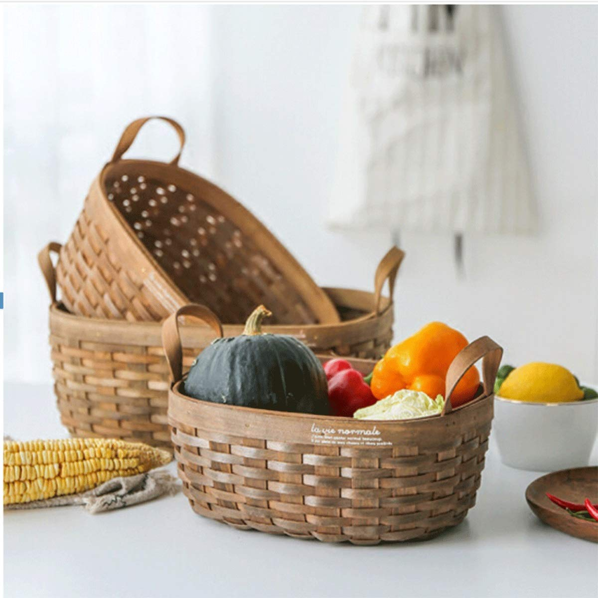 Tongboshi Bread Basket, Hand-Woven Storage Basket (with Handle), Picnic Fruit Bread Basket, Storage Basket, Oval Fruit Basket Three-Piece, Latest Models (Color : 3-Piece Set) by Tongboshi (Image #2)