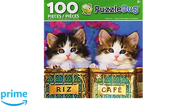 Tabby Kittens in Tins Childrens Puzzlebug Jigsaw Puzzle 100 piece