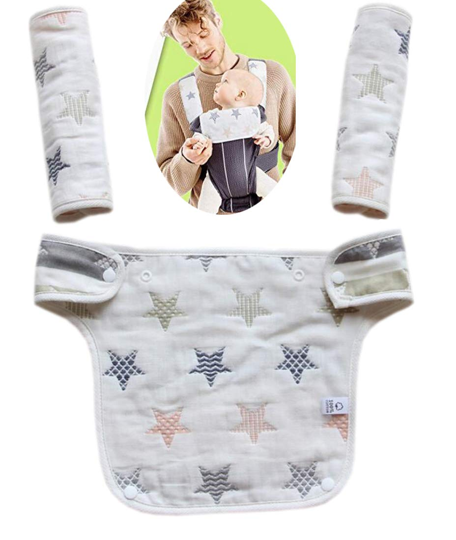 Baby Carrier Reversible Teething Drool Pads Four Position 360 3-Piece Set Grey Star
