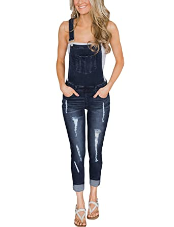faf892bff3b5 Luyeess Women s Denim Ripped Skinny Jeans Bib Overalls Long Pants Rompers  Jumpsuits Dark Blue Size M
