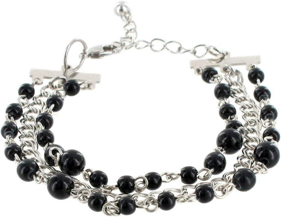 Black Beaded Multi Strand Chain Bracelet Fashion Jewelry for Women Man