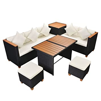 Vidaxl Garten Essgruppe 22 Tlg Poly Rattan Wpc Schwarz Lounge Set