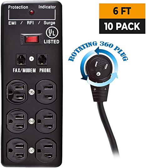 Belkin 6 Outlet Commercial Surge Protector with Rotating Plug 8 Feet Cord