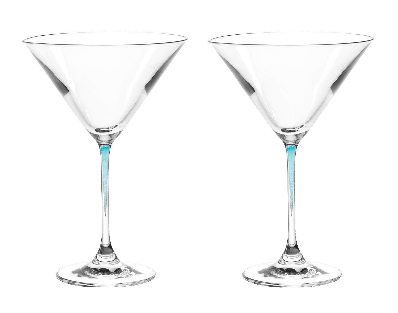 LEONARDO La Perla Martini Glass, Set of 2, Aqua, 9 Ounce