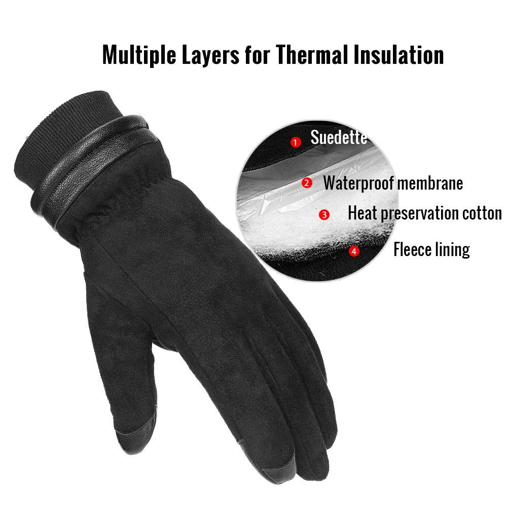 30℉ X-Large Cold Winter Gloves With Suede Leather Warm Protection Thermal Insulation Cold Resistance