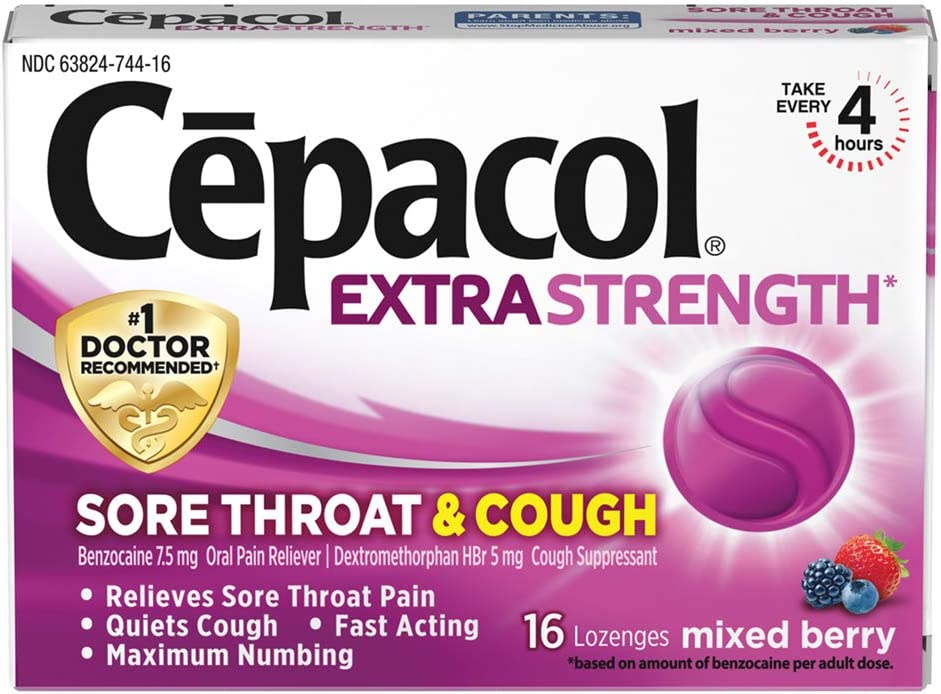 Cepacol Extra Strength Sore Throat Relief Lozenges, Mixed Berry Cough Drops, Maximum Numbing- Fast Acting Sore Throat & Canker Sore Relief with Dextromethorphan & Benzocaine, 16 Count