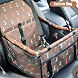 Dog Car Seat Booster - Portable & Foldable Pet Booster with Clip-On Safety Leash Up To 25LB (Brown / Dog / Anti-Collapse)