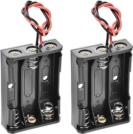 sourcing map 3 X 1.5V AAA Batería Resorte Clip Soporte Caja Almacenamiento Caja Cables 2uds: Amazon.es: Coche y moto