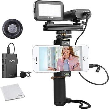 Movo Smartphone Kit de vídeo V2 con Agarre Rig Micrófono Lavalier ...