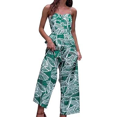 friendGG Lady Leaf Print Sling Overall,Jumpsuit Elegant Hosenanzug Sommer  Strand Ärmellos Overall Trägerlos Jumpsuit 12943dfc3f