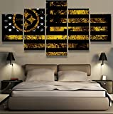 PEACOCK JEWELS Premium Quality Canvas Printed Wall Art Poster 5 Pieces / 5 Pannel Wall Decor Pittsburgh Steelers Sport Flag Painting, Home Decor Pictures - with Wooden Frame