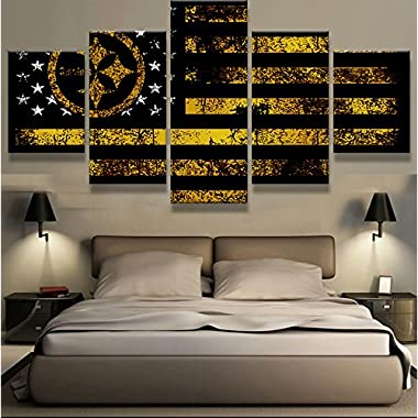 PEACOCK JEWELS [Medium] Premium Quality Canvas Printed Wall Art Poster 5 Pieces / 5 Pannel Wall Decor Pittsburgh Steelers Sport Flag Painting, Home Decor Pictures - with Wooden Frame