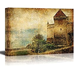"Wall26 - Canvas Prints Wall Art - Swiss Castle - Artwork in Painting Style | Modern Wall Decor/ Home Decoration Stretched Gallery Canvas Wrap Giclee Print. Ready to Hang - 24"" x 36"""
