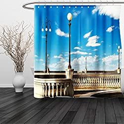 HAIXIA Shower Curtain Italian Mascagni Terrace Street Promenade of Livorno Tuscany Print Sky Blue White and Black