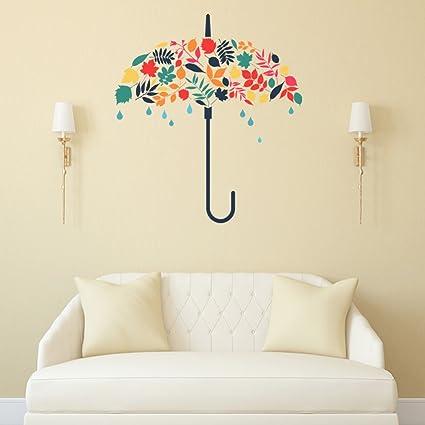 Luke and Lilly Colorful Umbrella Wall Sticker(PVC Vinyl, 80 cm x 90 cm)