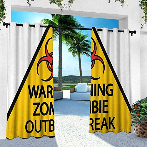 Hengshu Zombie, Outdoor Patio Curtains Waterproof with Grommets,Warning The Zombie Outbreak Sign Cemetery Infection Halloween Graphic, W84 x L108 Inch, Earth Yellow Red Black]()