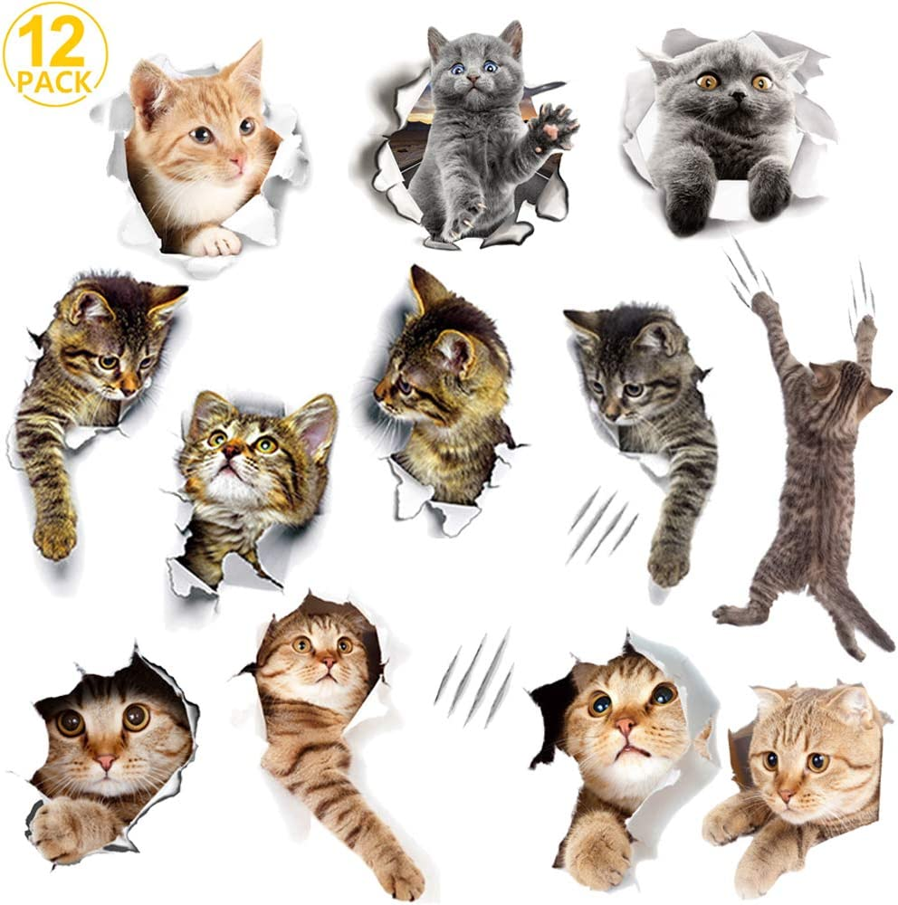 WMdecal 12PCS Removable 3D Cartoon Animal Cats Vinyl Wall Stickers Easy to Peel and Stick Cute Cat Wallpaper Murals for Nursery Room Toilet Kitchen ...