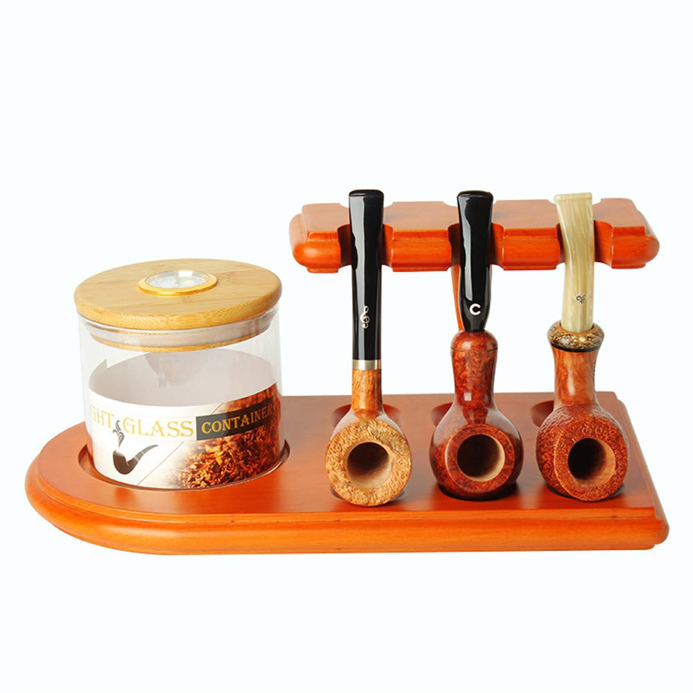 MUXIANG Pipe Stands for Tobacco jar Cigar Humidor and Pipe-European Beech Wood Tobacco Pipe Rack Stand Display for 6 Pear Wood Tobacco Pipes (jar and Pipe not Included) FA0073