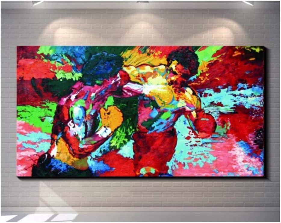 Leroy Neiman Boxing HD Stampa su Tela Decorazioni per la casa Soggiorno Immagini per pareti Camera da Letto Art-60x90cm Senza Cornice Pittura Rocky vs Apollo