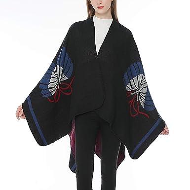 Chaquetas Elegantes Negro Rebajas Invierno para Mujer, PAOLIAN Abrigo de Punto Ponchos y Capas Cárdigans Finos otoño Señora Chaquetas Anchas Cálido ...