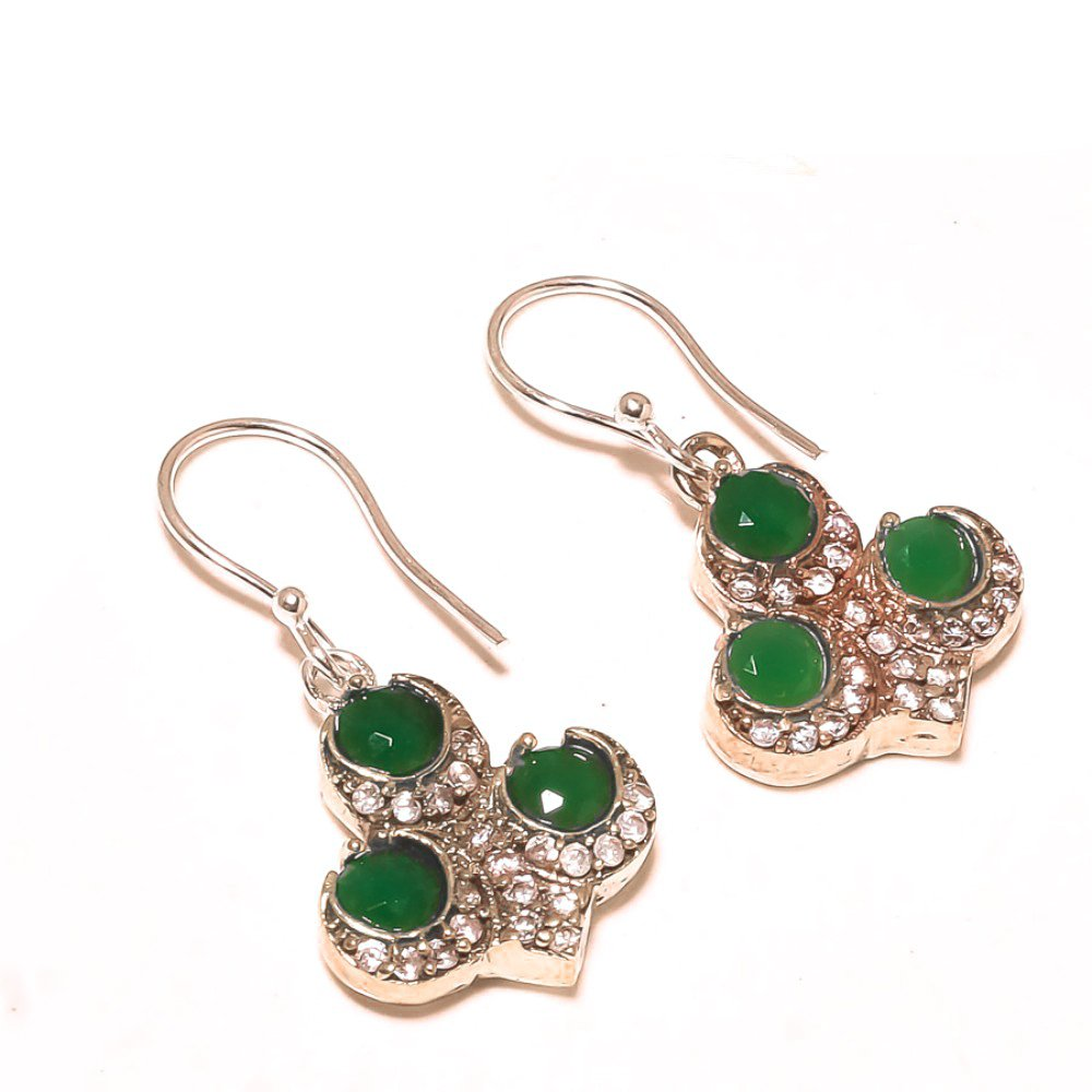 Unique Design Green Dyed Emerald Sterling Silver Plated And Brass 8 grams Earring 1.25 Long Turkish Style Handmade Art Jewelry