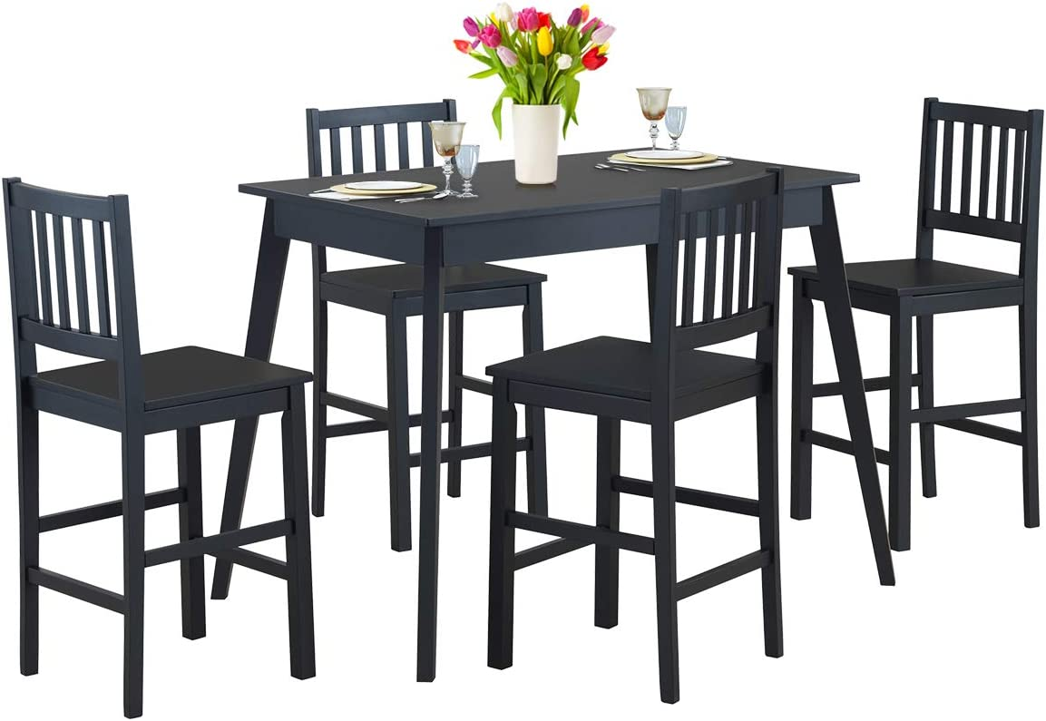 Giantex 5 Piece Dining Set, Wood Dining Table with 4 Chairs,Counter Height Kitchen Table Modern Home Furniture (Black)