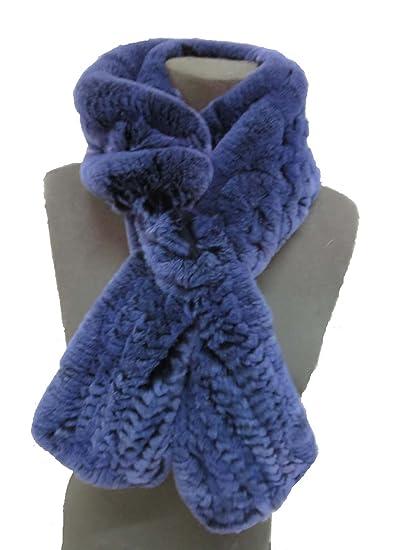 DTLDYG Femme Echarpe Franges Forrure Veritable de Lapin Rex Serré Flou Chaud 4Couleurs  (Bleu)  Amazon.fr  Vêtements et accessoires d638e27a564