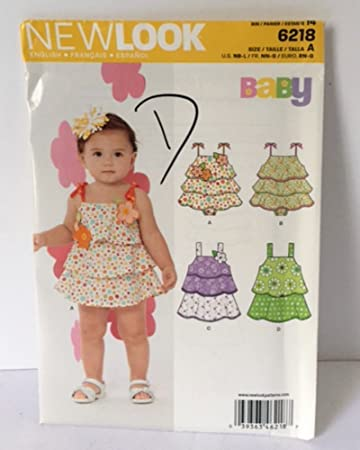 cabeb014f1d7 Simplicity New Look 6218 Sewing Pattern Baby One Piece Ruffle Romper Sun  Suit Girls NB S M L