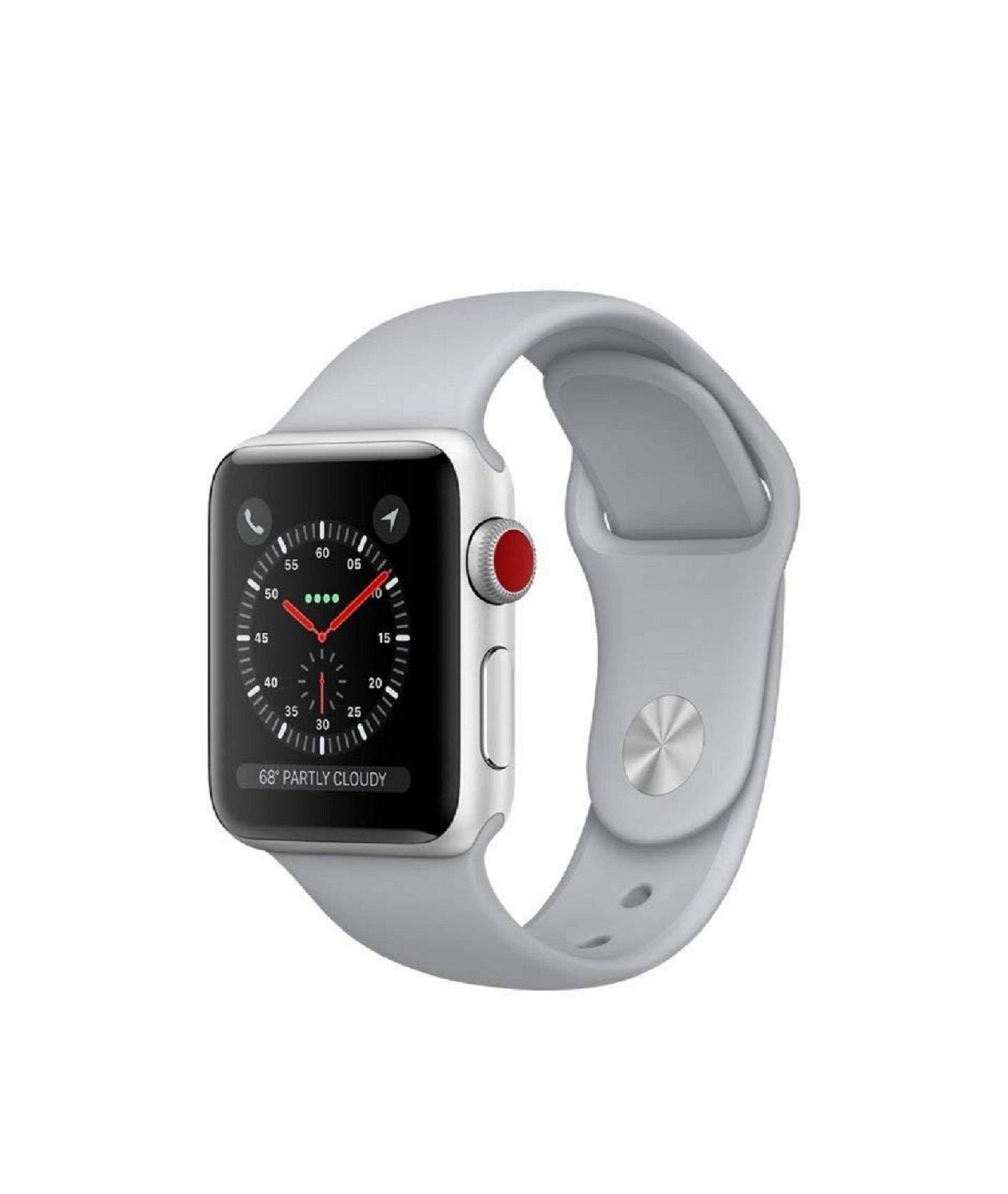 Apple watch series 3 Aluminum case Sport 38mm GPS + Cellular GSM unlocked (Silver Al case w/ Fog Sport band)