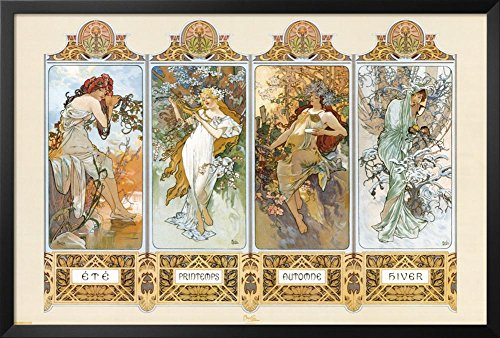 Professionally Framed Alphonse Mucha (4 Seasons) Art Poster Print - 24x36 with RichAndFramous Black Wood Frame