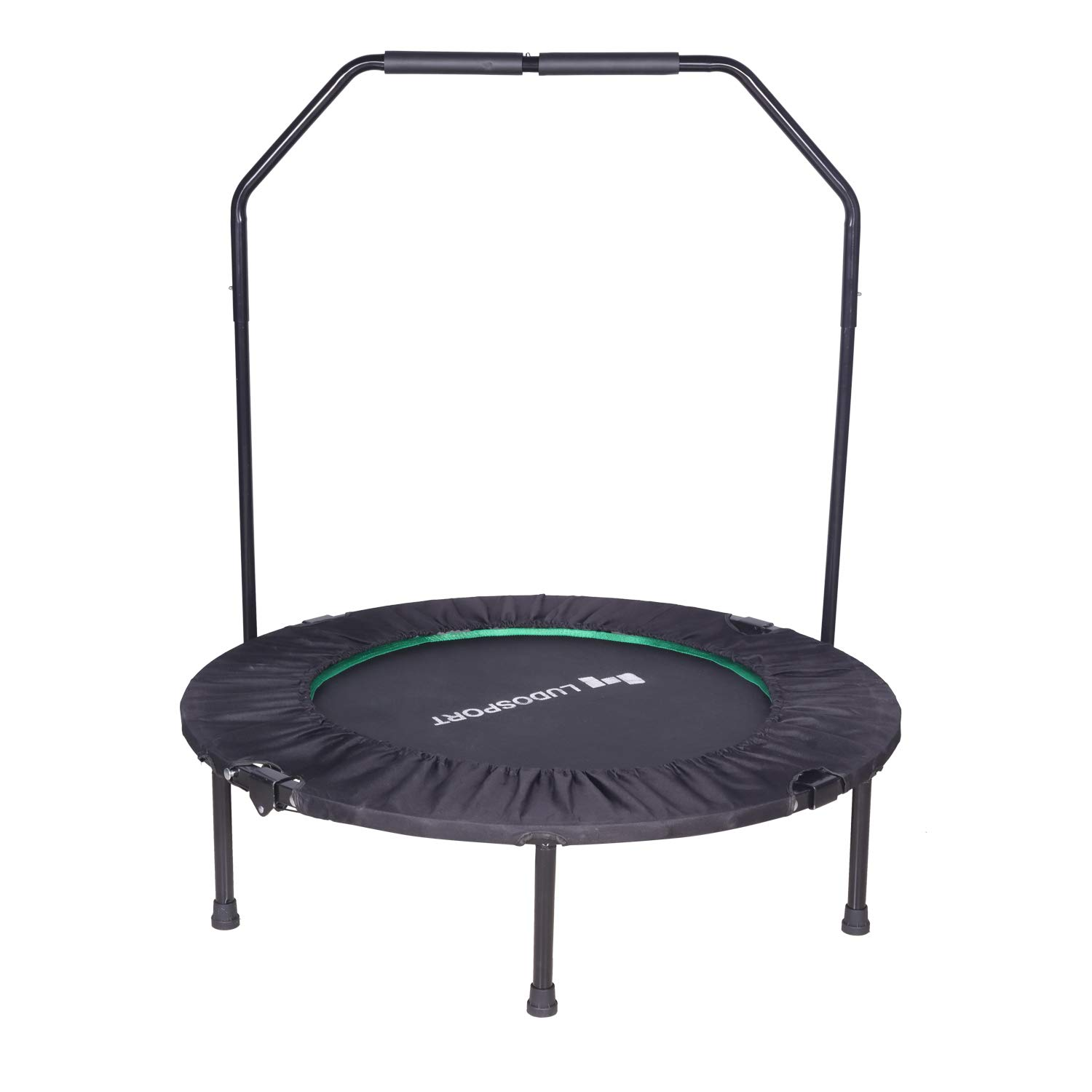 Ludosport Foldable Rebounder 40'' Mini Trampoline Rebounder,Fitness Trampoline Trainer with Handrail, 300lb Max Load Bearing Rebounder Trampoline for Indoor, Outdoor, Yoga and Other Cardio Exercise