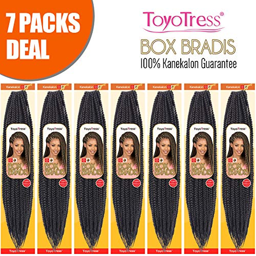 ToyoTress 7Packs/Lot 18Inch Box Braids Crochet Hair 100% Kanekalon Crochet Box Braids Hair Synthetic Hair Braiding Hair Extensions For Black Women(18 Inch,#1B) ()