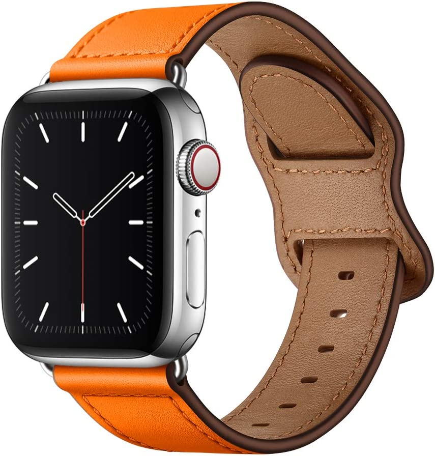 KYISGOS Compatible with iWatch Band 44mm 42mm 40mm 38mm, Genuine Leather Replacement Band Strap Compatible with Apple Watch SE Series 6 5 4 3 2 1 (Orange/Silver, 44mm/42mm)