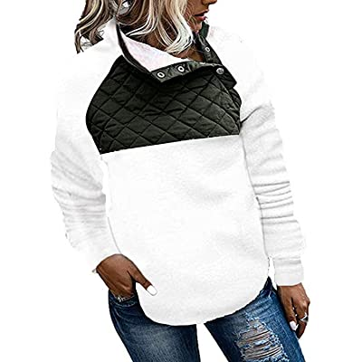 Actloe Women Button Neck Fleece Pullover Sweatshirt Casual Outwear Coat with Pockets: Clothing